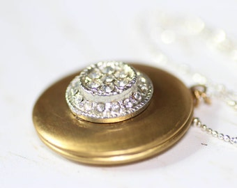 Vintage Locket Brass with Vintage Rhinestone Accent on Sterling Silver Fancy Diamond Cut Ball Chain