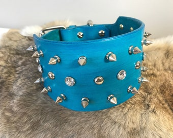 """3"""" Genuine Leather Custom Spiked Dog Collar with Custom Color options"""