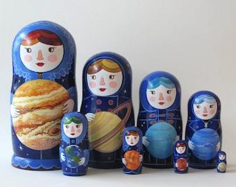 Planet Women Nesting Dolls, 8 pieces