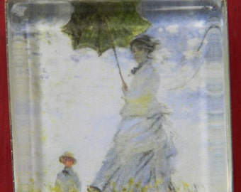 Claude Monet Umbrella Lady or Poppy Field - Vintage Famous Painting Necklace w/ Organza Ribbon Cord