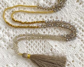 Taupe Silk Tassel Necklace