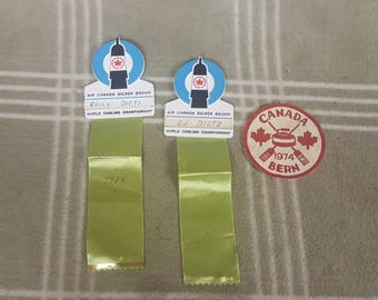 Rare 1974 Air Canada Silver Broom World Curling Championship Badges & Patch. Bern