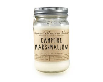 Campfire Marshmallow Scented Candle, Mason Jar Candle, Marshmallow, Handmade Scented Candle, Mens candle, gift for men,candle, unique candle