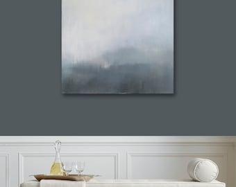 Ready to Hang Minimalist Abstract Landscape, Canvas Print, Large Landscape Print, Modern Art, Gray, Grey Art, Natural, West Elm Artist