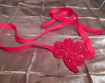Velvet Rope Headband, Neckalce, Bracelet, Belt - Great Gatsby, 1920, Flapper Style Beaded Sequin Rhinestone Velvet Ribbon Headband