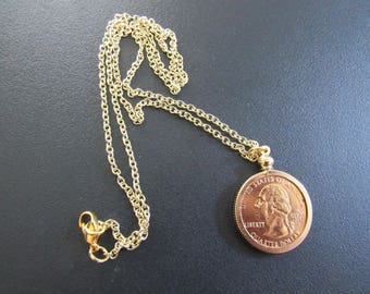 Coin Bezel Handcrafted Pendant Jewelry Findings Pendant Charm Coin Holder - Coin  Bezel - Gold PLATED Quarter W 20 inch Cain
