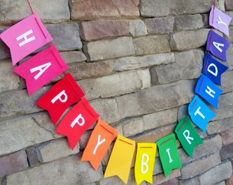 Happy Birthday Banner on Rainbow Felt with Baker's Twine