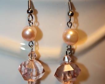 Pink Champagne & Pearls Dangle Earrings