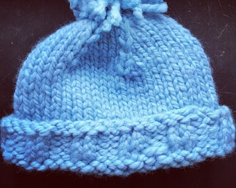 Solid Color Pompom Baby Hat