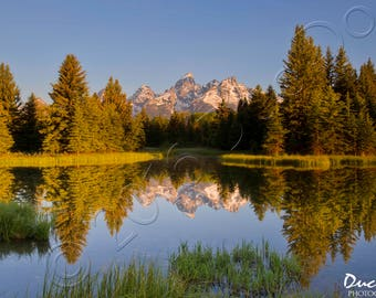 Mirror - Lake Mountains Photography Canvas Wall Print - Nature Landscape - Peaceful