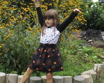 Halloween Spider! Girls Cotton Skirt, Halloween Print Girls Skirt, Knee Length Skirt, Black skirt, Orange Spiders