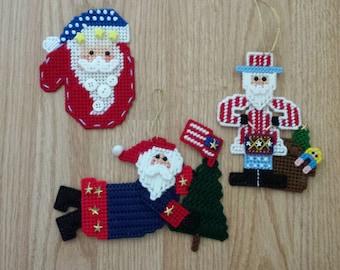 Set of 3 Plastic Canvas Ornaments