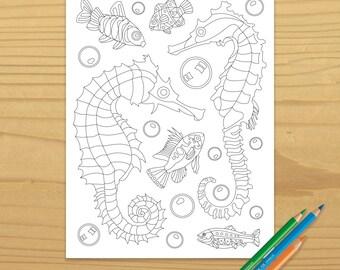 Ocean Coloring, Seahorse Coloring, Sea Horse Coloring, Fish Coloring, Beach Coloring, Underwater Coloring, Coloring Page, Digital Download