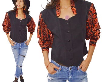 Vintage 80s Miller Stockman Western Top Blouse Shirt