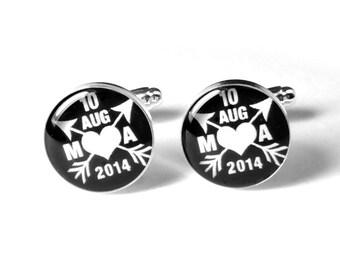 Personalized Wedding Cufflinks, Custom Cufflinks, Fiance Cufflinks, Wedding Cufflinks, Groom Gift, Gift for Him, Anniversary Gift