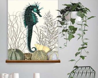 Seahorse Print - Seahorse & Sea Urchins Nautical print beach house decor Seahorse wall decor nautical decor bathroom decor nautical wall art