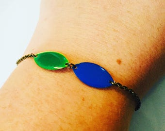 Bracelet blue and green chain brass