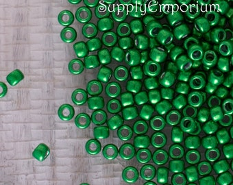 8/0 Hybrid CT Metallic Kale Toho Seed Beads, 15 GRams, Toho 8/0 Metallic Kale Green Seed Beads, Toho 8/0 Metallic Kale Seed Bead, 5249
