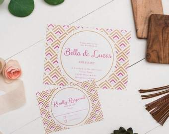 Chevron Wedding Invite & RSVP
