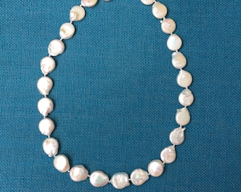 Baroque Pearl Necklace - Button Pearl (coin pearl)