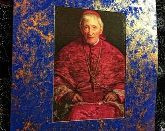 John Henry Newman Portrait with Artistic Antique Matting Look. A Unique Inspirational One of a Kind Gift!