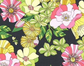 Michael Miller - Joy by Tamara Kate - Garden Grandiflora - Dk Grey - Fabric by the Yard DC7794-GARD