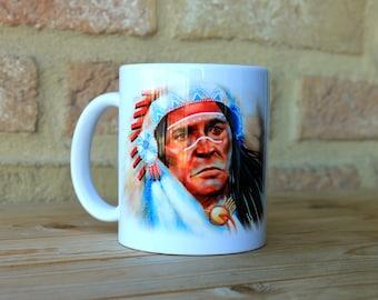 Chief Native American Mug Ceramic Mug Unique Gift Coffee Mug Animal Mug Tea Cup Art Illustration Cool Kitchen Art Printed mug