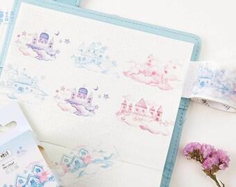 Dream Castle Japanese Washi Tape,Masking Tape,Diary, Planner Sticker,Stationery,Cherrybloosm, Stationery,Decorative Tape,Castle