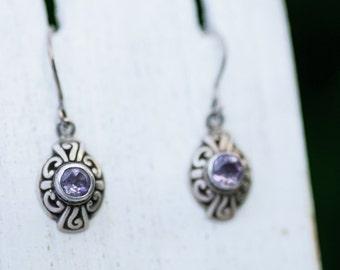February Birthday Gift Amethyst Earrings for Her Drop Vintage Earrings Jewelry Silver Amethyst Earrings February Birthstone Earrings