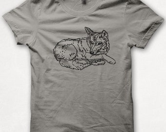 Kids Tshirt Red Wolf Shirt T shirt Screenprinted - Gray