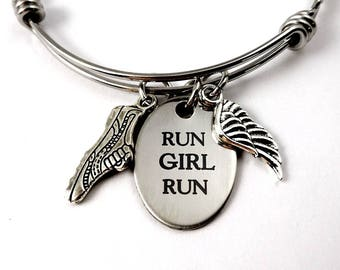 Running Bracelet - Run Girl Run Bangle Bracelet -Running Runner  - Woman Accessory - Marathon