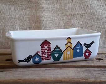 Chapparal Pottery Casserole Birdhouse Design Vintage Chapparal Pottery Ceramic Baking Dish Loaf Pan Kitchen Decor Planter