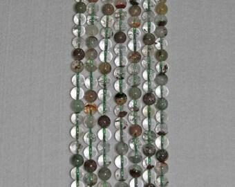 Quartz, Phantom Quartz, Phantom Quartz Bead, Smooth Bead, Natural Stone, Phantom Crystals, Clear Bead, Half Strand, 8mm, AdrianasBeads