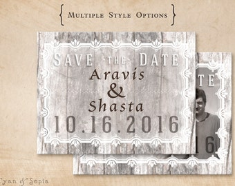 Wood and Flourishes - Wedding Save the Date Design - 4x5 Postcard - Vintage Rustic Woodland Tree Elegant Photo - Grey Gray Neutral Whit
