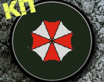 Kit Punto de Cruz UMBRELLA - Resident Evil, Incluye Tela, Hilos, Gráfico y aguja - ¡¡ Elige el color de la tela !!