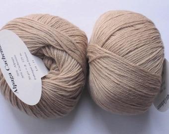 5 balls of alpaca and cashmere beige textile brand