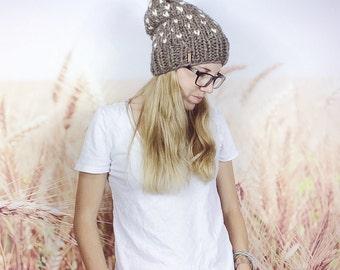 Fair Isle Knit Hat, Pom Pom Hat, Knitted Hat, Pom Pom Beanie, Fair Isle Beanie, Chunky Knit Hat, Womens Hat, Winter Hat - {BARLEY & CREAM}