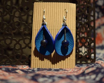 Blue Lagoon leather earrings