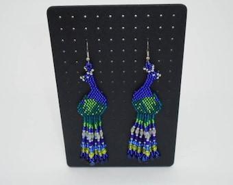 Beaded earrings, Native American style, Seed beads Earrings, Boho style, peacock, shoulder duster Earrings