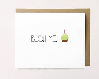 Funny birthday card, Dirty birthday card for boyfriend, Cheeky birthday card, Birthday card for Him, Naughty birthday card, Blow me card