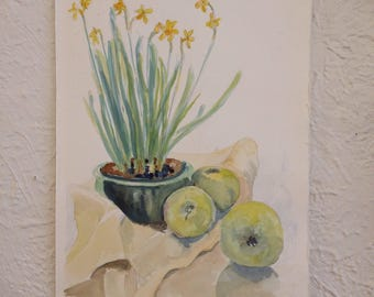Apples and Iris Watercolor