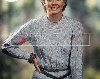 "Lady's Sweater 32-38"" DK Sirdar 6632 Vintage Knitting Pattern PDF instant download"