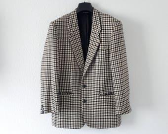 Black, white, gray, plaid jacket vintage 52 CACHAREL FRANCE jacket