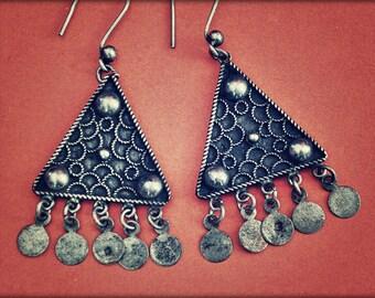 Vintage Gypsy Silver Dangle Earrings - Gypsy Silver Earrings - Ethnic Silver Dangle Earrings - Boho Dangle Earrings from Egypt