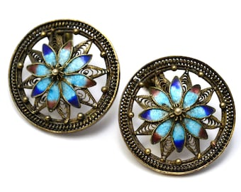 Vintage Chinese filigree gilt silver signed blue enamel floral screwback earrings