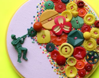 JUST SHOOT ME, Embroidery Hoop Art, Vintage Button And Toy Soldier Wall Decor, Yellow, Orange, Red, Green, Neon Pink, Baby Pink