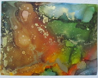 Green, orange, & gold abstract fluid ink painting