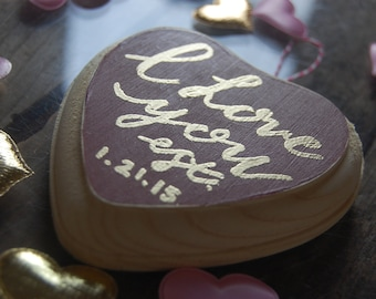 I Love You Custom Anniversary Heart Ornament // Gold embossed // Valentine's Day Gift // Customized Anniversary Gift