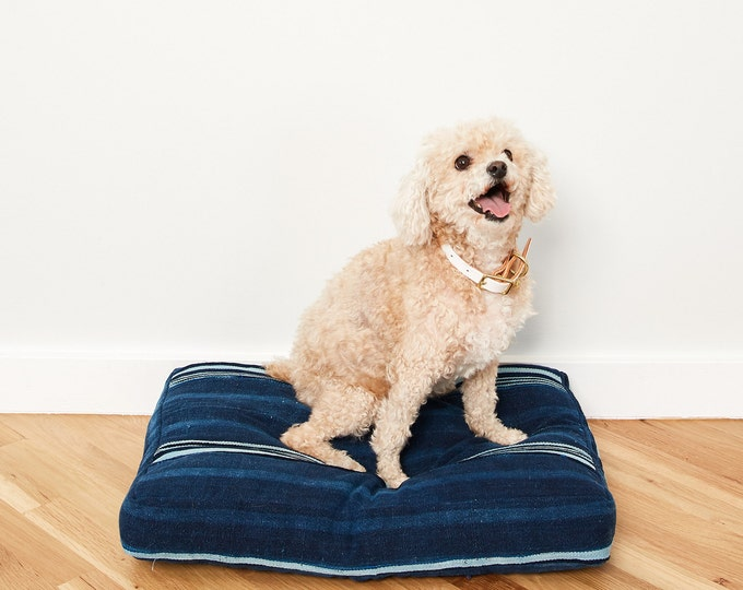 Indigo Striped Dog Bed // Small