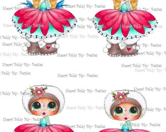 Instant Download IMG384 Bestie 3D Decoupage kit Besties Big Head Dolls Digi By Sherri Baldy